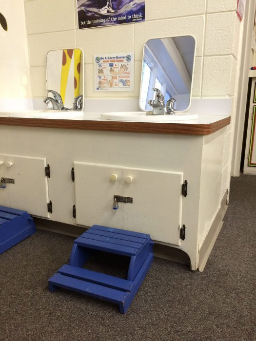 Toddler-sized sinks and potties, as well as a changing table, are available.